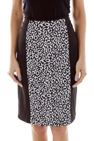 Black White Cheetah Print Pencil Skirt