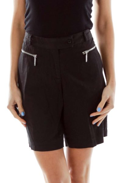Black Khaki Bermuda Shorts