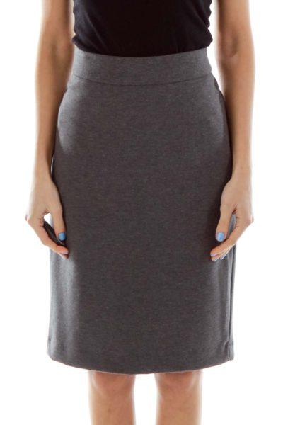 Gray Mottled Pencil Skirt