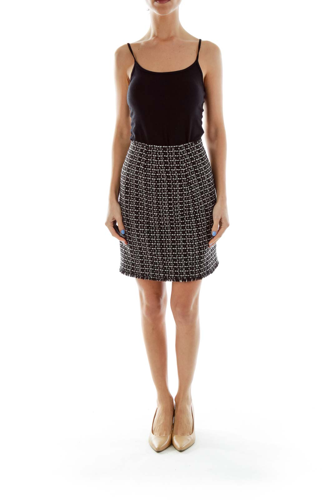 Black White Tweed Pencil Skirt 32922d26c6178