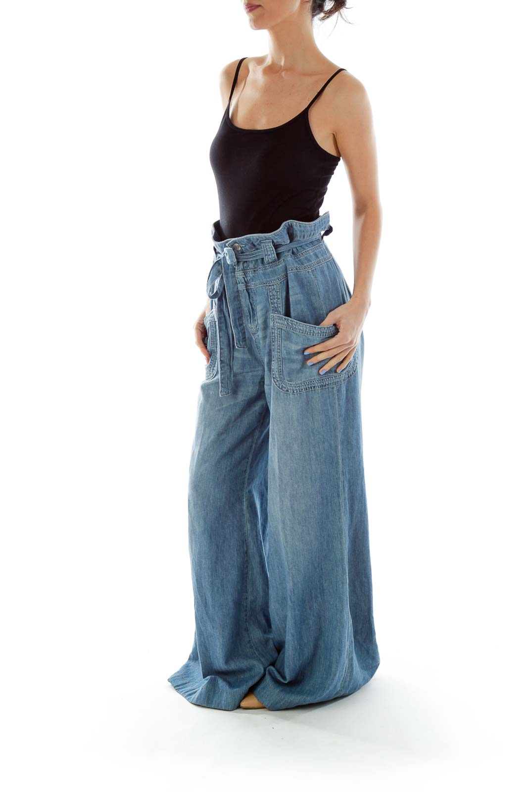 Blue High-Waisted Wide-Leg Jeans