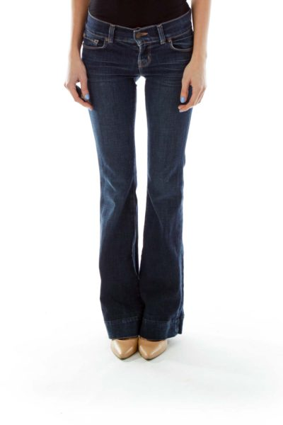 Blue Flared-Leg Jeans