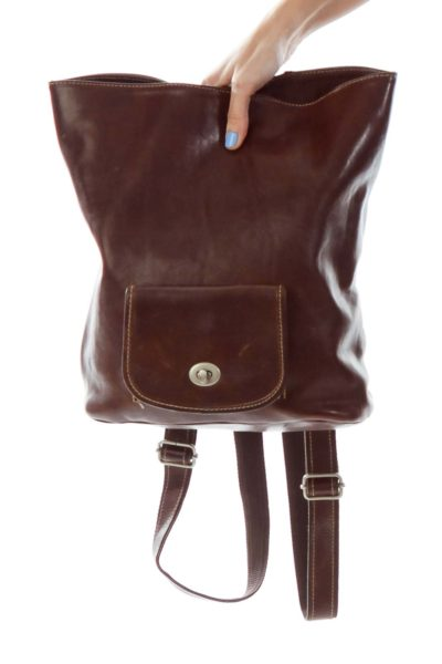 Brown Leather Backpack Bag