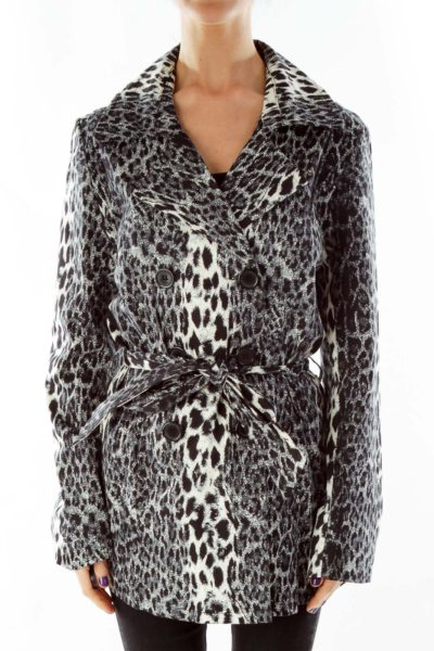 Black Beige Animal Print Coat