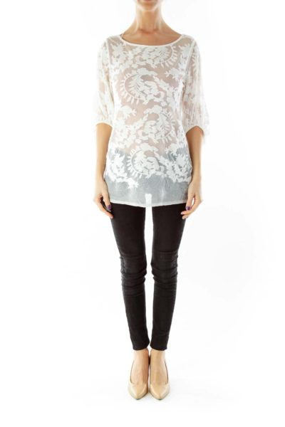 Cream Lace See-Through Blouse