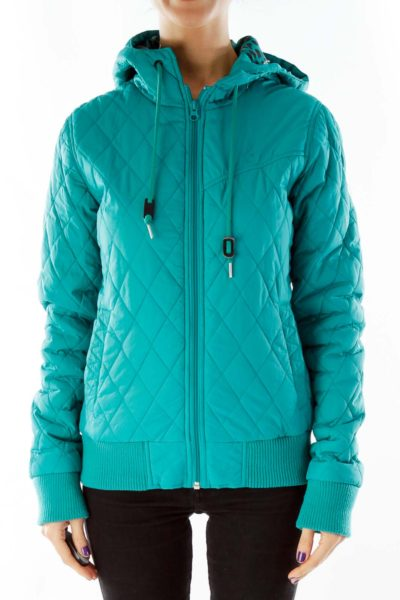 Green Puffy Hooded Jacket