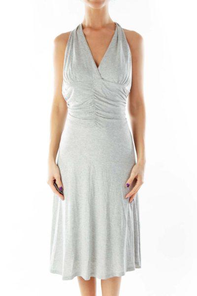 Gray Halter Day Dress