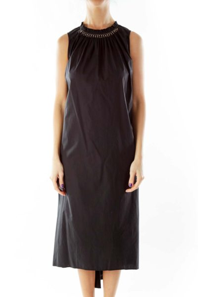 Black Loose Work Dress w/ Gold Bead Detail