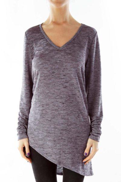 Purple V-neck Sparkle Top