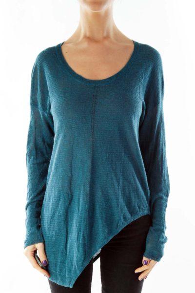 Blue Asymmetrical Knit Top