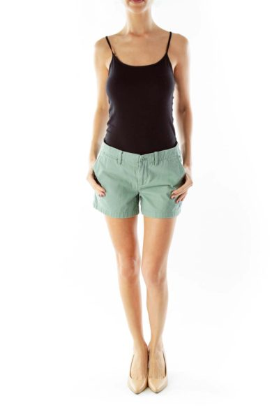 Green Buttoned Shorts