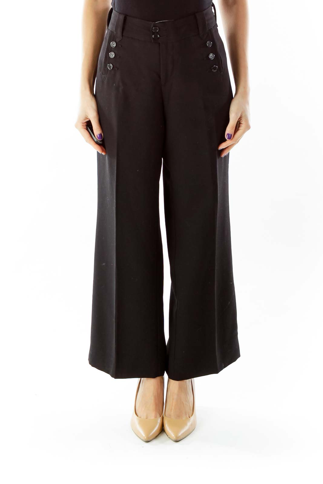 Black Pocketed Wide Leg Pants