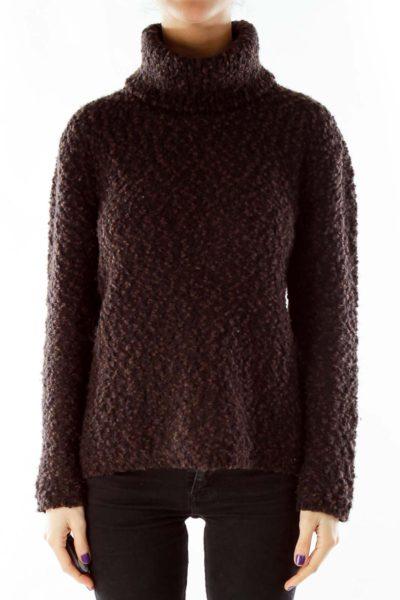 Brown Mottled Turtleneck Sweater