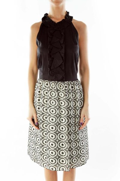 Black Cream Sleeveless Embroidered Dress