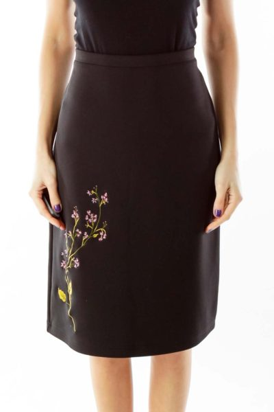 Black Embroidered Pencil Skirt