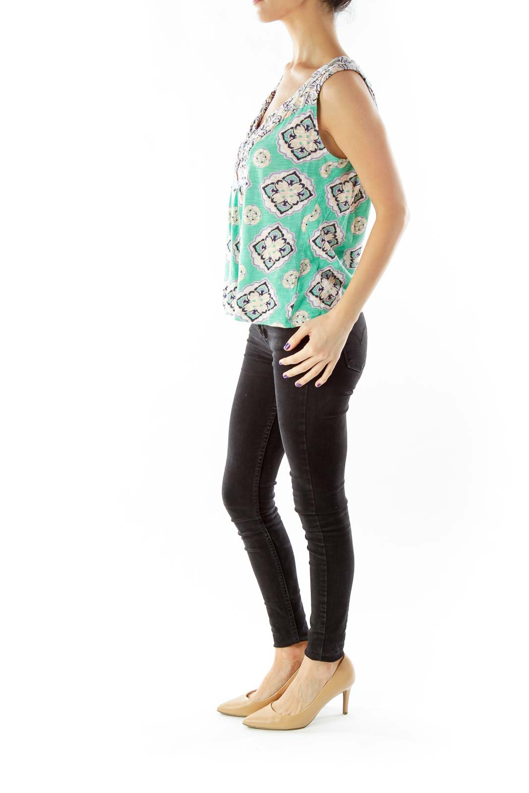 Green Printed V-Neck Blouse