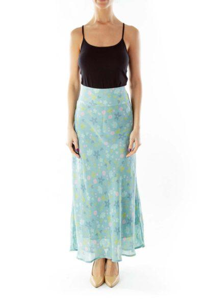 Green Floral Maxi Skirt