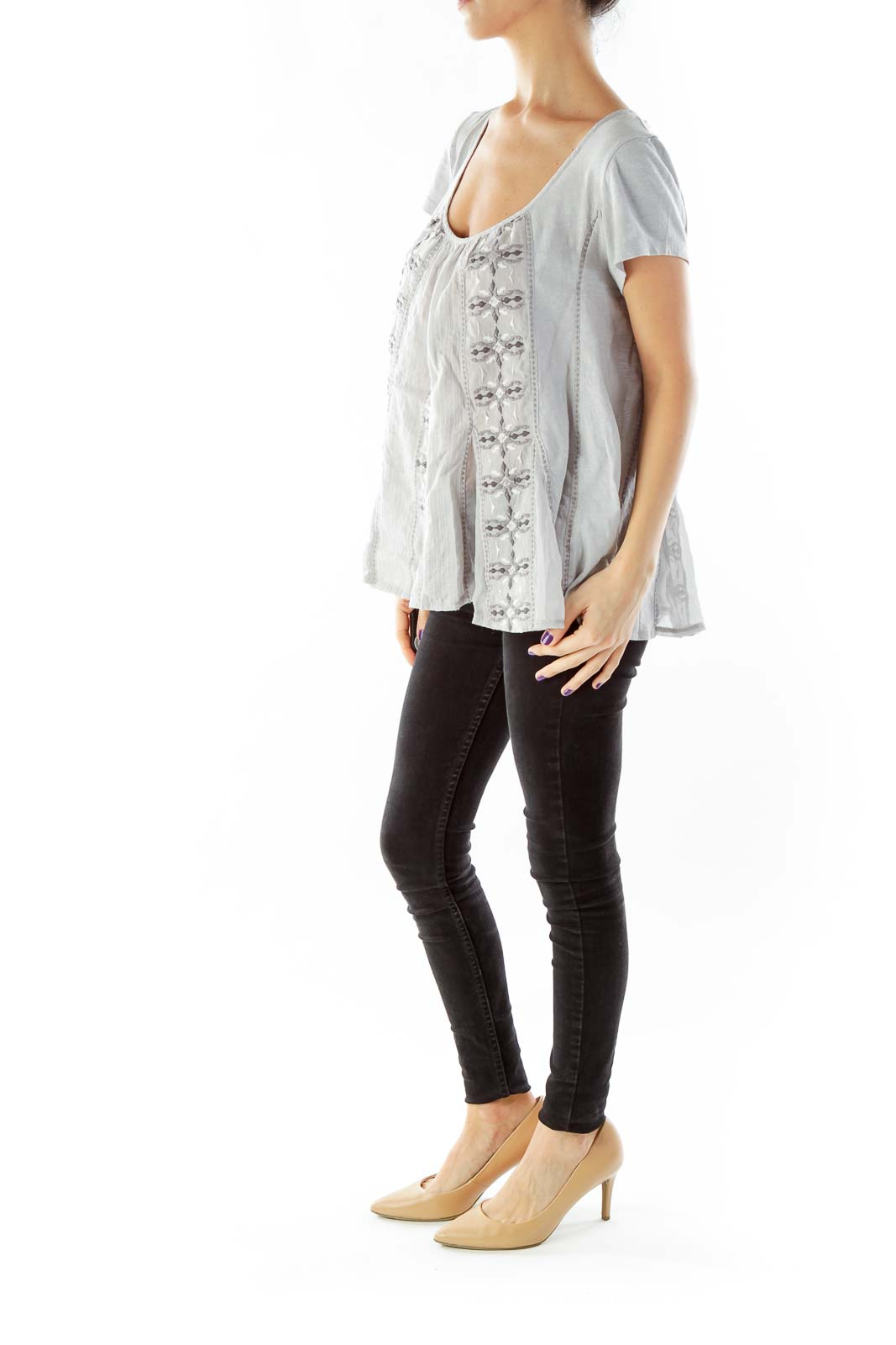 Gray Embroidered Blouse