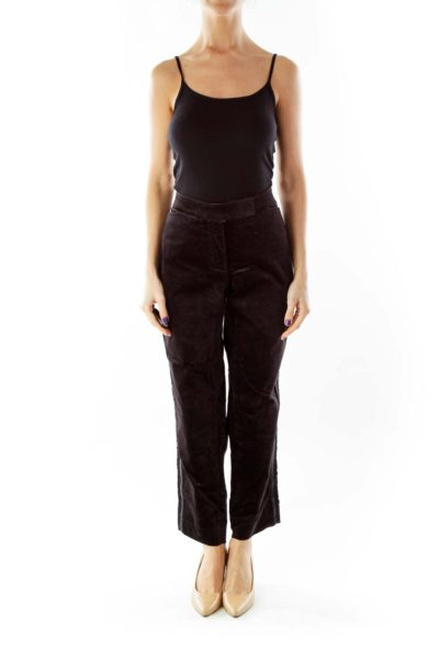 Black Velvet Tapered Pants