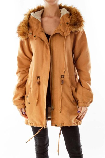 Brown Hooded Faux-Fur & Shearling Jacket