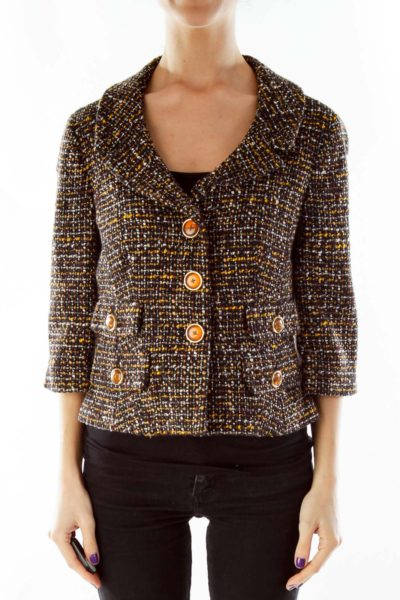 Black Yellow Tweed Jacket