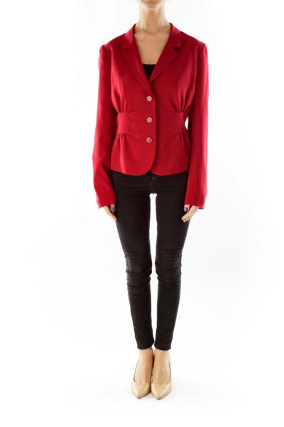 Red Single-Breasted Blazer