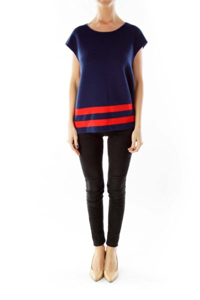 Navy Red Fitted Knit Top
