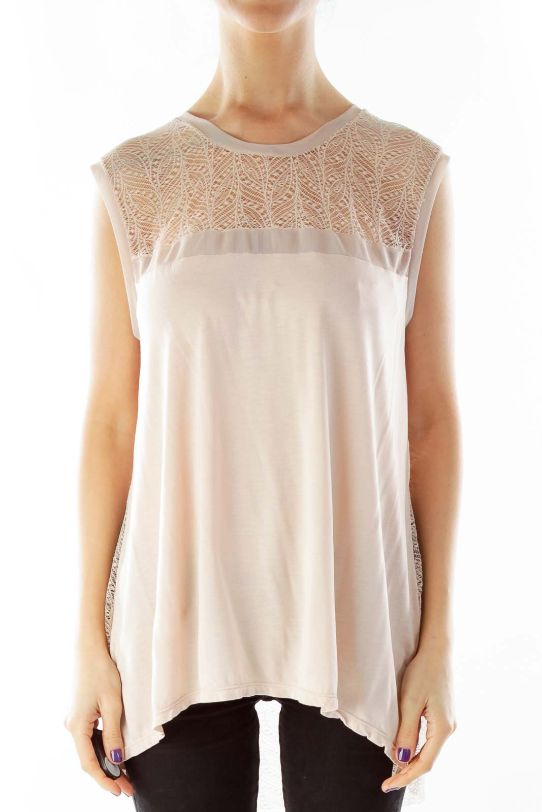 Pink Lace Back Sleeveless Blouse