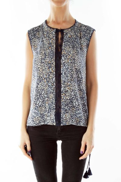 Navy Floral Sleeveless Blouse