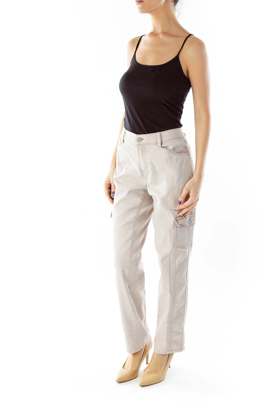 Beige Pocketed Denim Pants