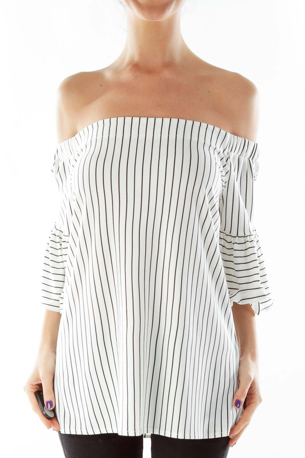 White Black Striped Blouse