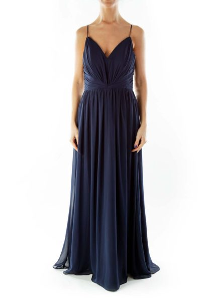 Navy V-Neck Gown