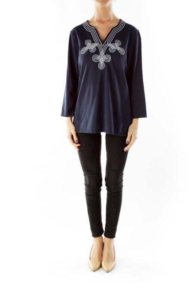 Navy White Embroidered Tunic