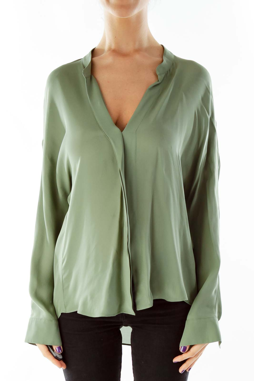 c46fe61c91069 HomeClothingTopsBlousesOlive Green Silk V-Neck Blouse. Previous. Wristwatch  by Versace