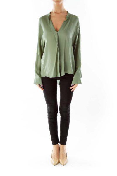 Olive Green Silk V-Neck Blouse
