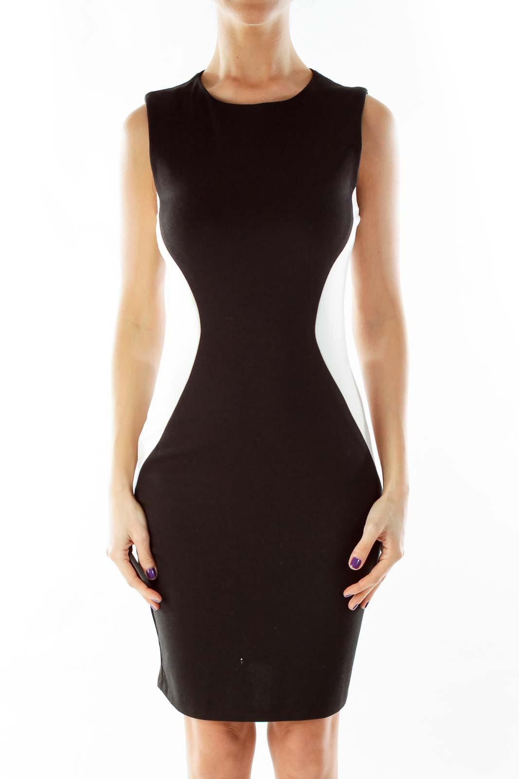 Black Cream Fitted Work Dress
