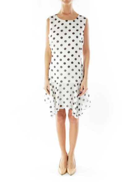 White Black Polka-Dot Work Dress