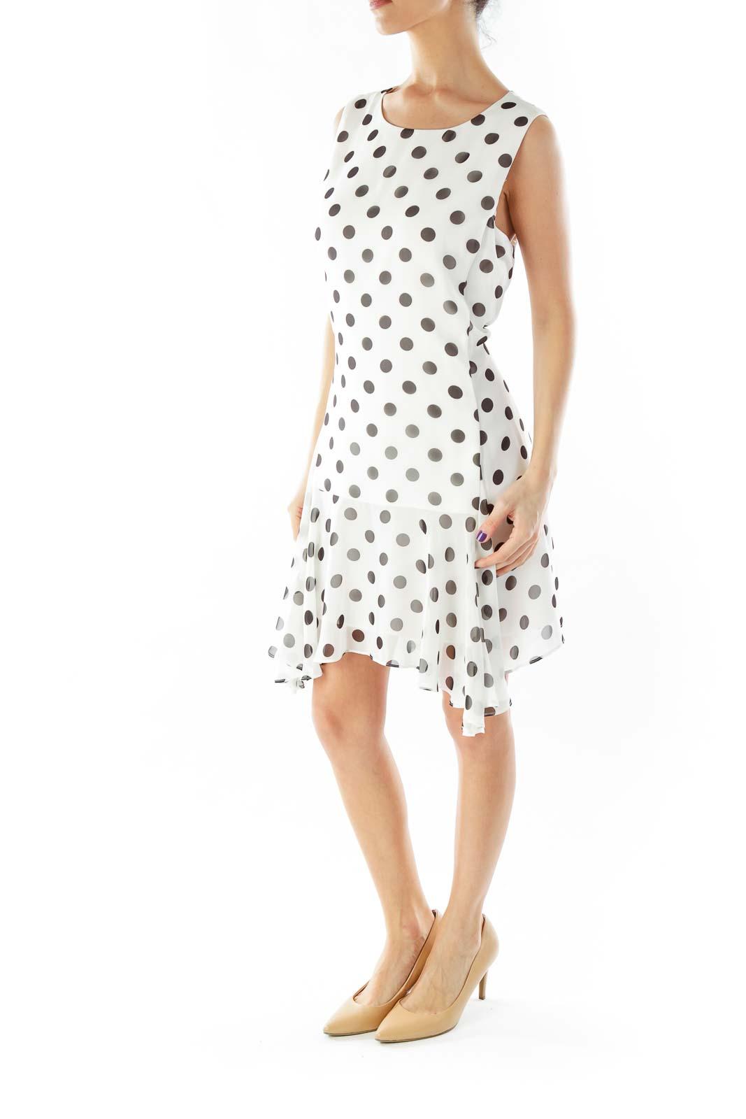 White Black Polka-Dot Work Dress