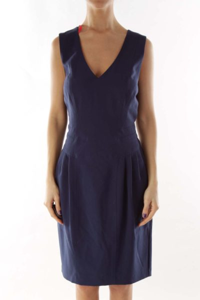 Navy Pink Sleeveless Day Dress