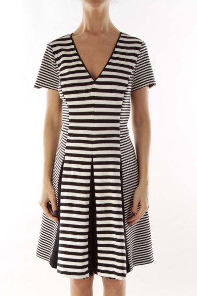 Black White Striped Pleated Dress