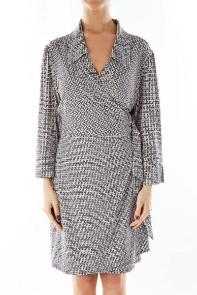 Black White Greek-Key Wrap Dress