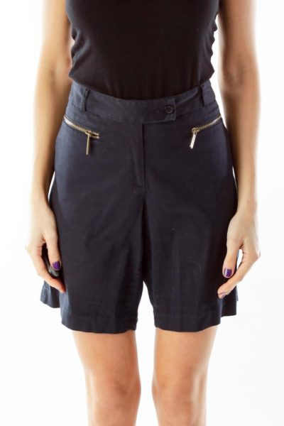 Navy Zipper Pocket Shorts