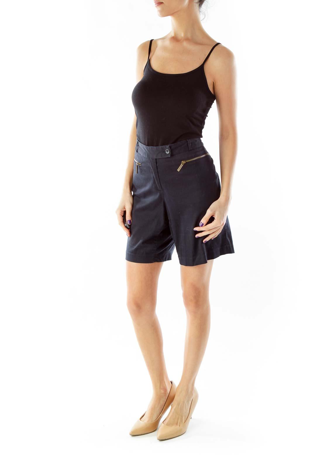 Navy Zipper Pocket Shorts