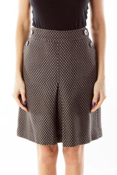 Brown Gray Pleated Wool Skirt