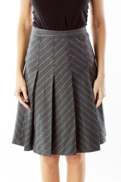 Gray Pleated Skirt with Purple Pinstripe