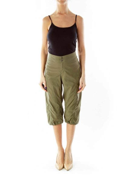 Olive Green Cropped Athletic Pants