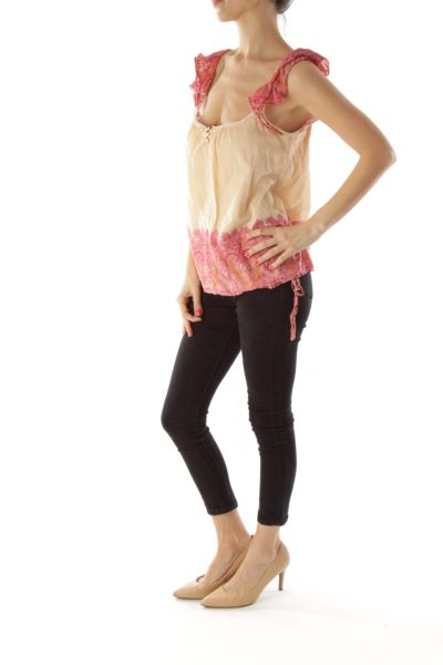 Pink Beige Paisley Doll Top