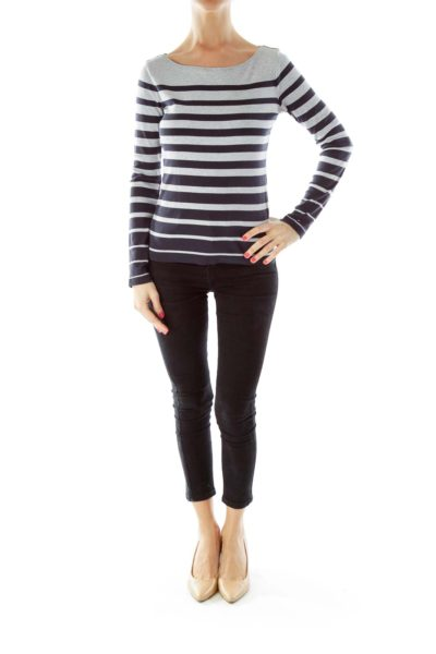 Gray Navy Striped Sweatshirt