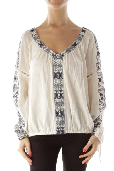 Cream Blue Embroidery V-neck Top