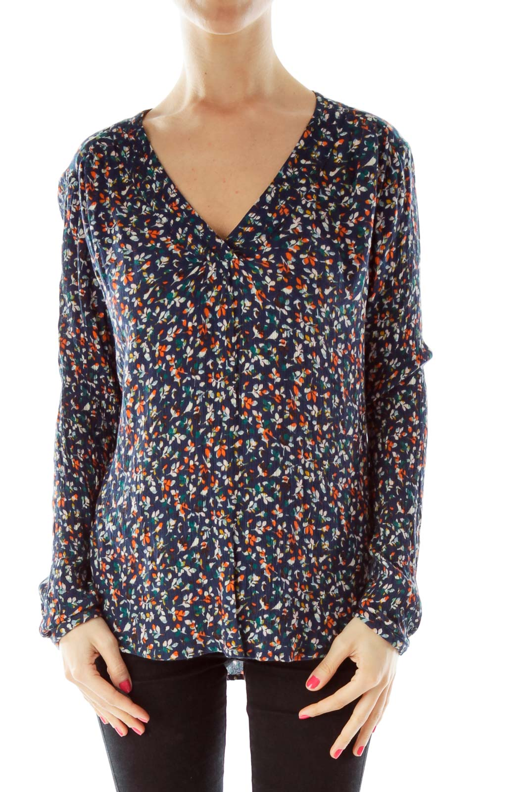 Navy Orange Leaf Print Top